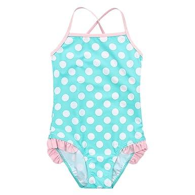 c8c3be13e73a3 IBTOM CASTLE Girls One Piece Swimsuit Spaghetti Straps Polka Dot Striped Tankini  Swimming Costume Beachwear Summer