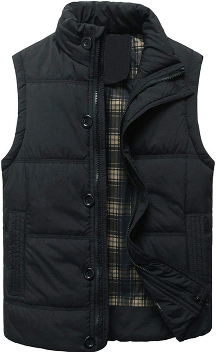 xczwx Thick Warm Winter Vest for Cotton Men Autumn Male Casual Hot Solid Button Sleeveless Jacket Classic Mens Waistcoat