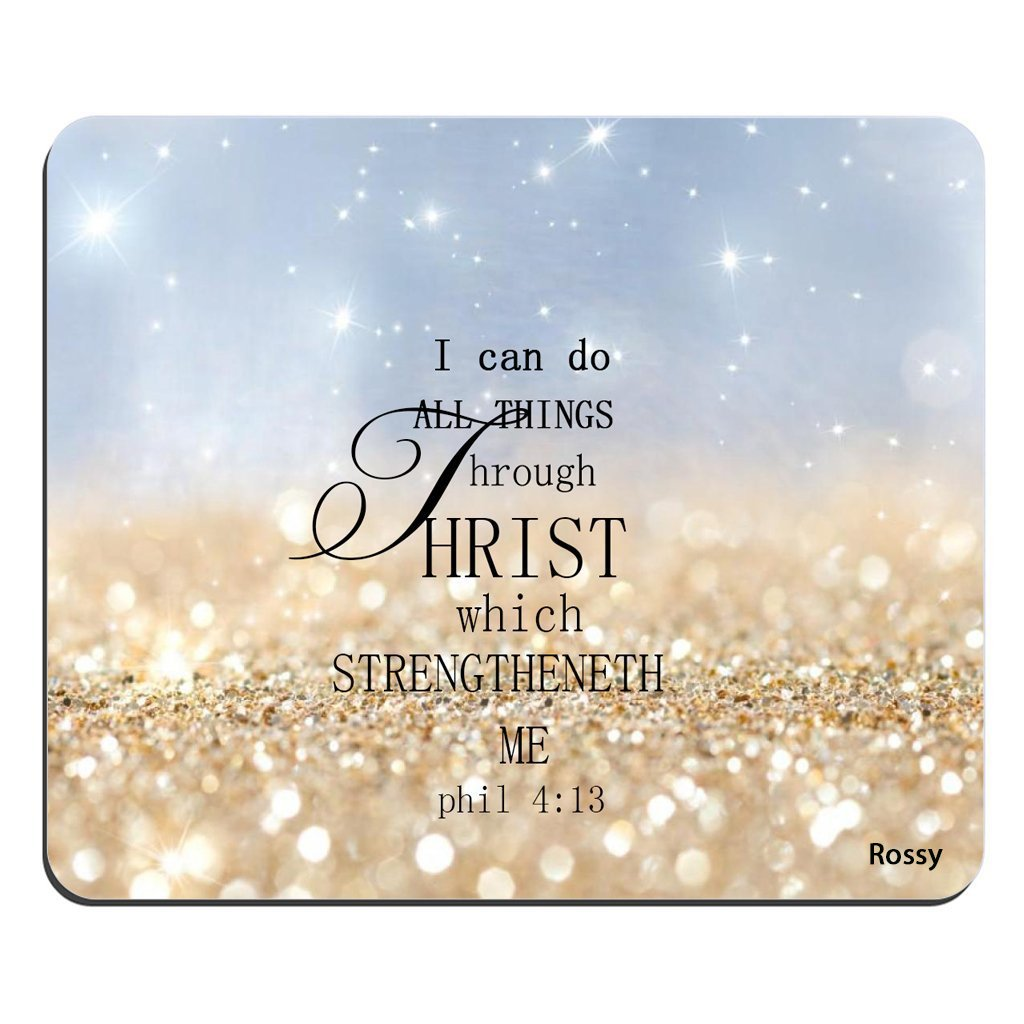 Bible Verse Rainbow Sparkles Glitter Pattern Rectangle Mouse Pad Christian  Quotes I can Do All Things Through Christ Who Strengthens Me Philippians