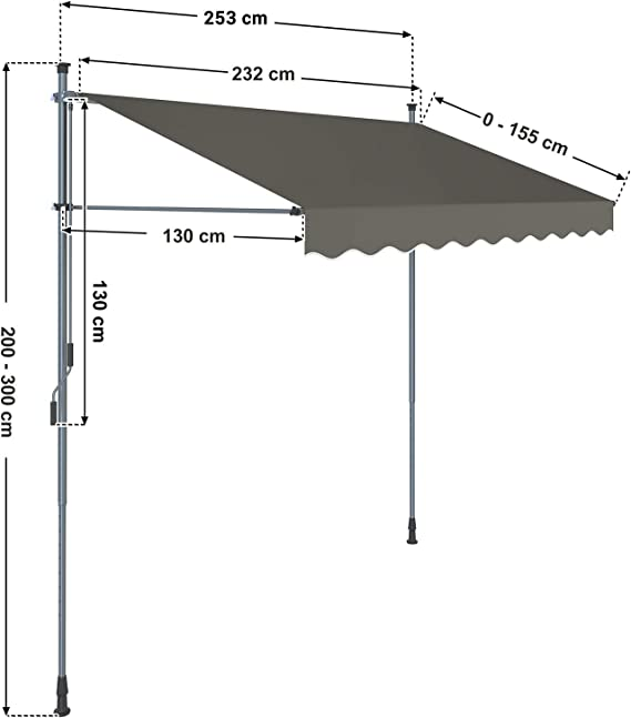 SONGMICS GSA253GY - Toldo con Soporte, 250 cm, Altura Regulable de 2-3 m, Color Gris: Amazon.es: Jardín