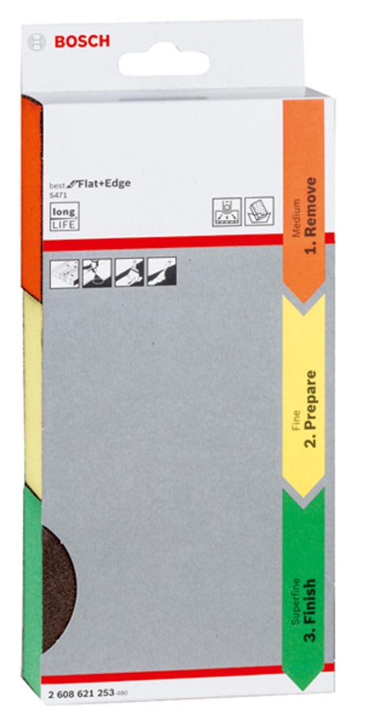 3-teilig Bosch 2608621253/Schleifmittel Schwamm Set/ 69 x 97 x 26 mm, super fein /& Professional DIY Schleifschwamm /Blau