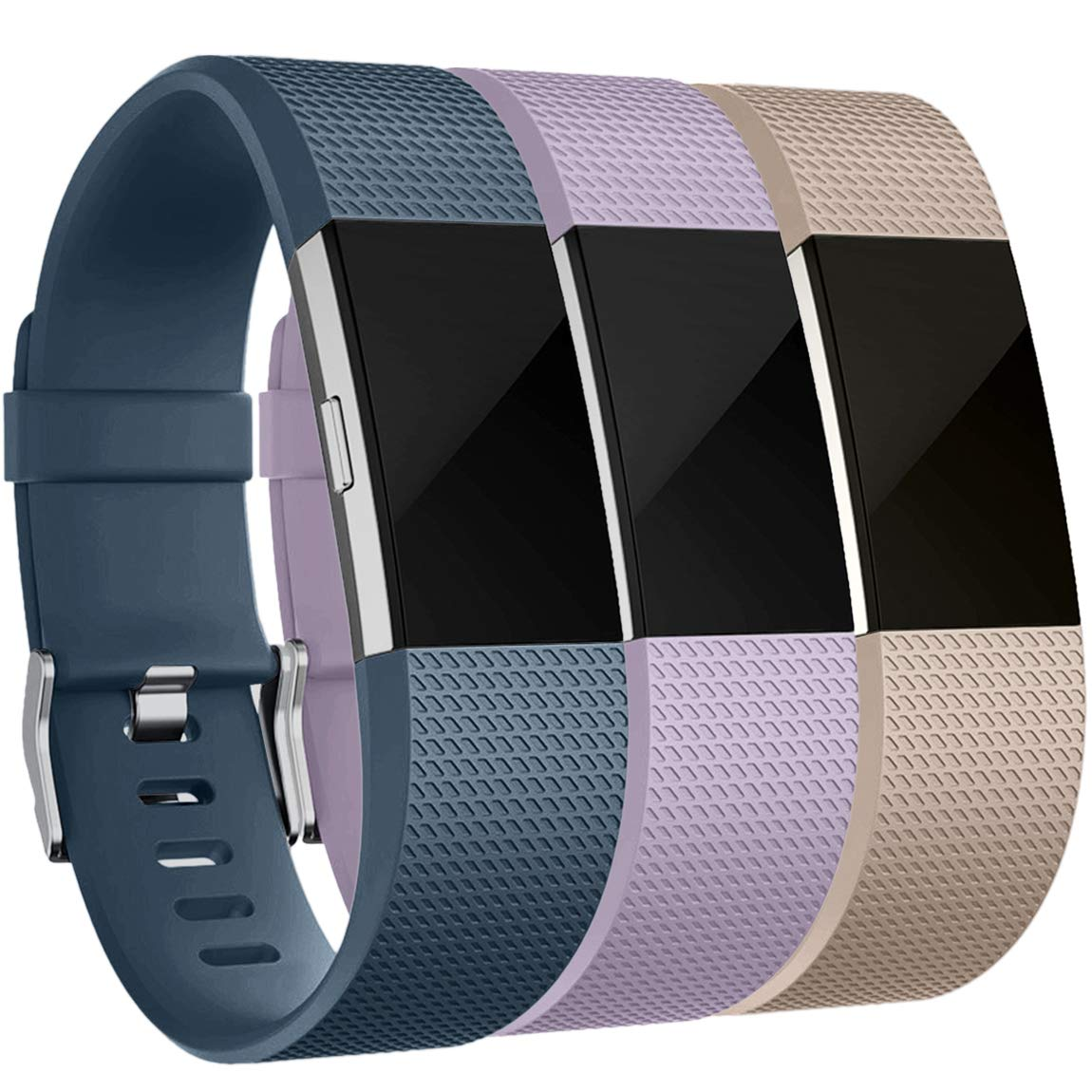 Maledan Bands Replacement Compatible with Fitbit Charge 2, 3-Pack, Small Slate Blue/Lavender/Beige