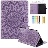 iPad Air 9.7 Inch Case,LittleMax(TM) Embossed PU Leather Auto Wake/Sleep Flip Stand Case [Card Slots] Smart Shell Magnetic Closure Folio Cover for Apple iPad Air 2013 Model - #2 Purple