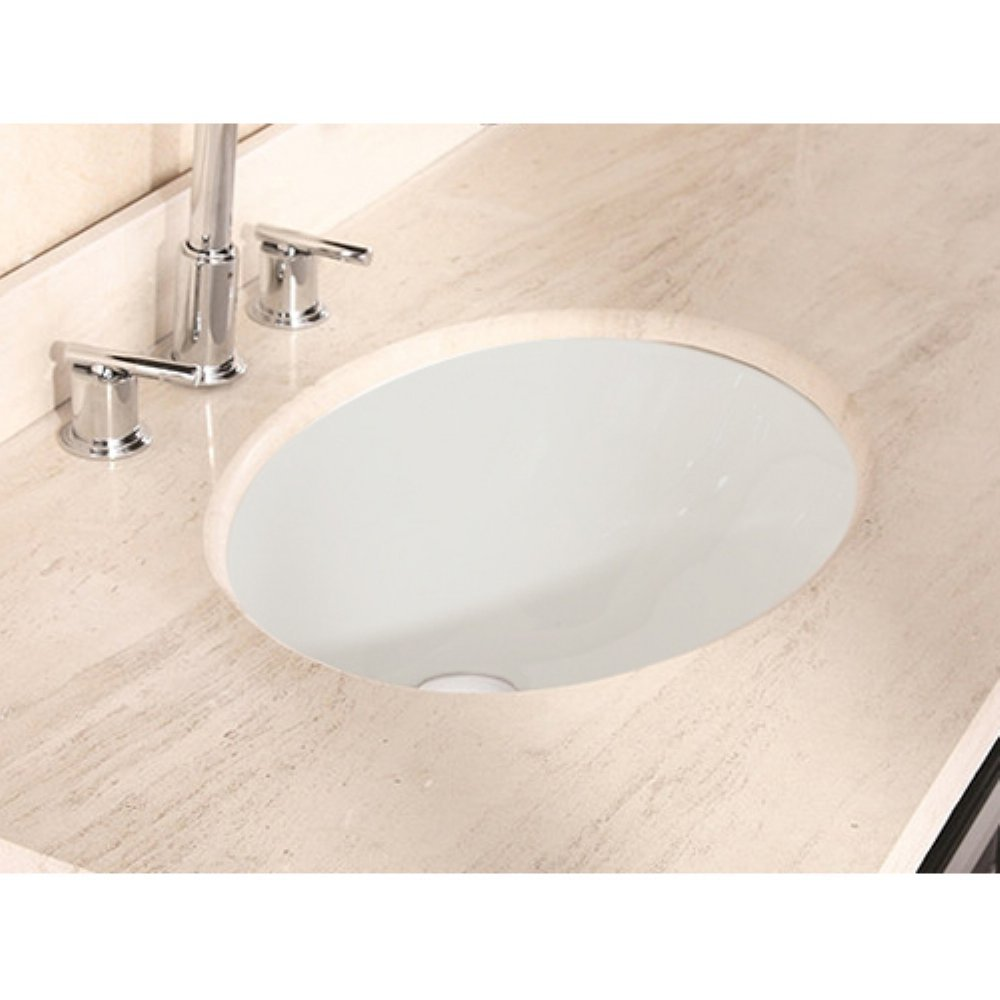 American Imaginations 19.75-in. W x 15.75-in. D Oval Undermount Sink In Biscuit Color good