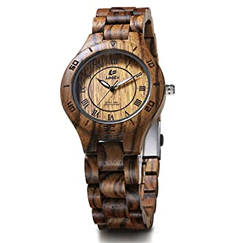 WLH Relojes Madera,Reloj De Pulsera Analógico De Cuarzo para Esfera De Bambú Natural Correa