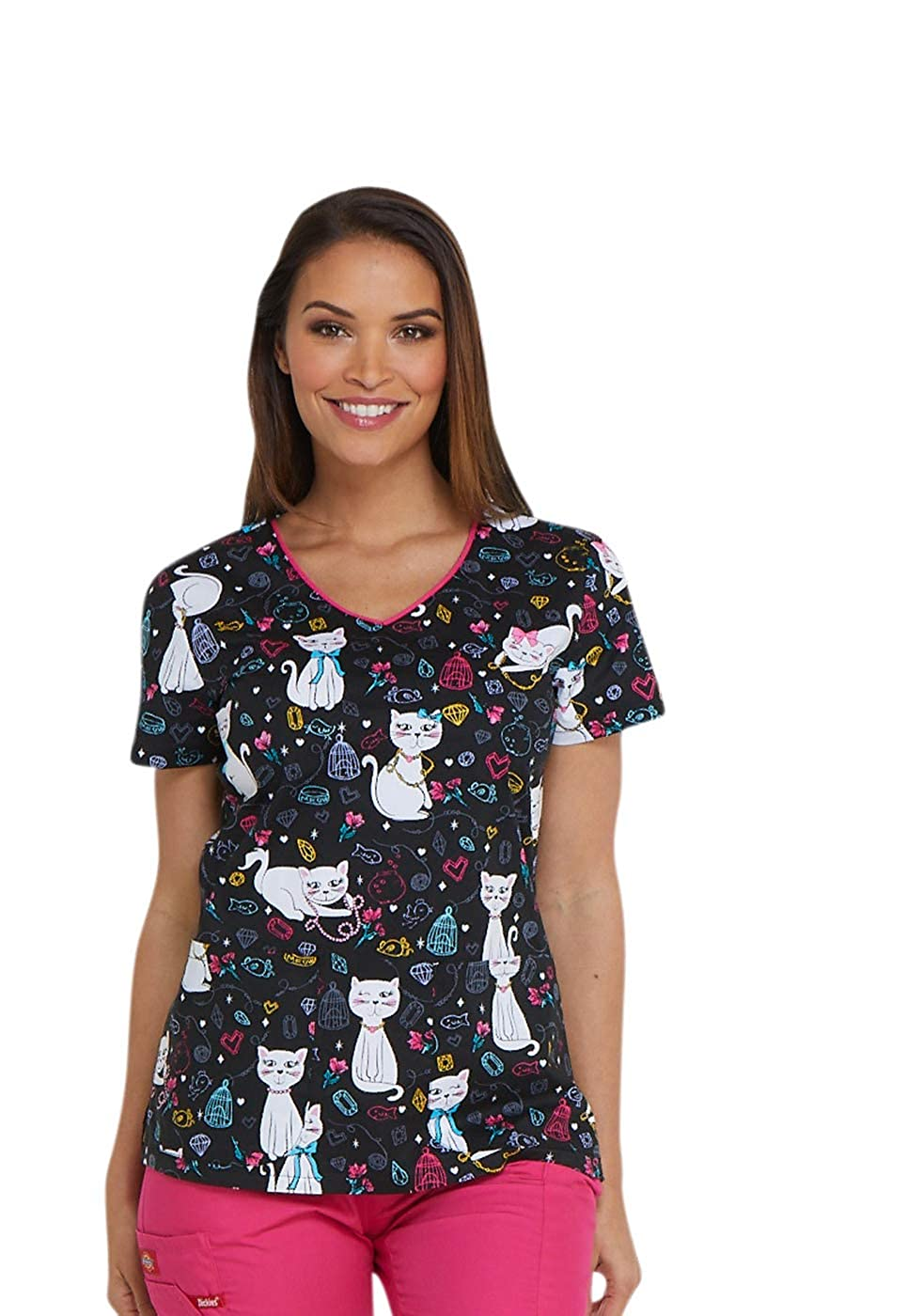 Dickies V-Neck Top in Pretty Little Kitty