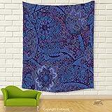 Vipsung House Decor Tapestry_Indian Ethnic Tie Die Paisley Leaves Dark Toned Embellished Folk Floral Print Dark Purple Violet Blue_Wall Hanging For Bedroom Living Room Dorm