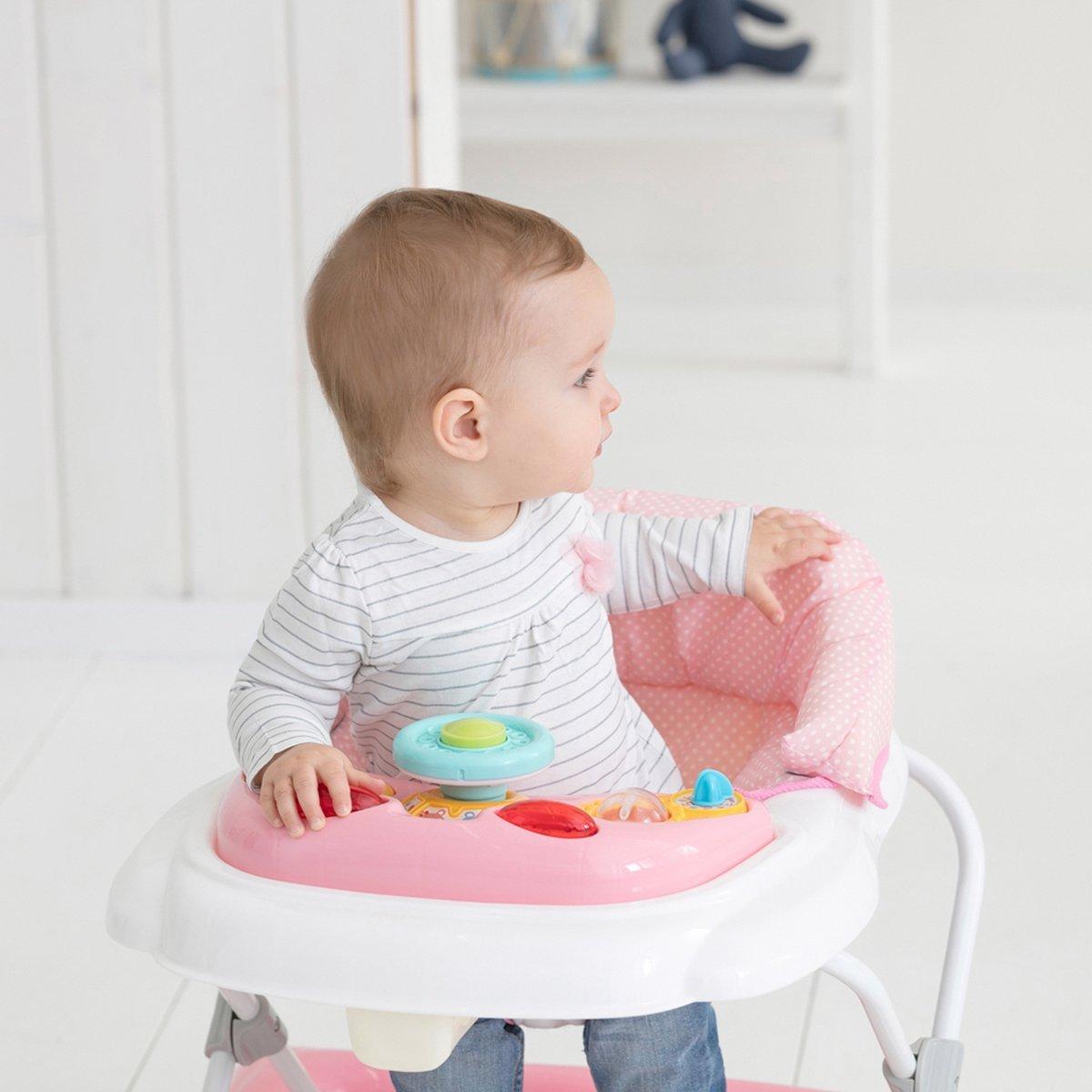 Solini Lernlaufhilfe//Lauflernwagen f/ür Babys//h/öhenverstellbarer Laufwagen mit eingeh/ängtem Sitz