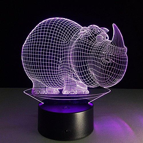 JSTMYYXGS 3D Night Light, Rhino 3D Acrylic Table Lamp Bedroom Bedside Lamp LED Night Light Creative Gift Lighting, (Size : with Music Player) by JSTMYYXGS (Image #9)