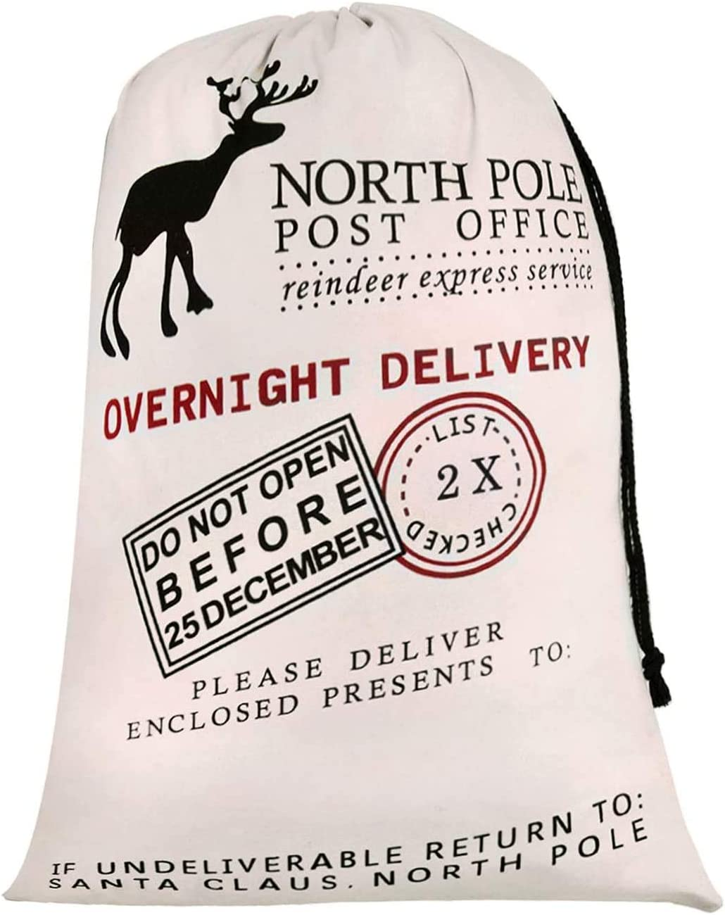 Personalized Santa Sack,HBlife Xmas Gift Bag Big Santa Bag Cotton with Drawstring Size 19.7