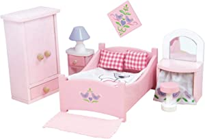 Le Toy Van - Wooden SugarPlum Bedroom Dolls House | Accessories Play Set For Dolls Houses | Girls or Boys Dolls House Furniture Sets - Suitable For Ages 3+ (ME050)