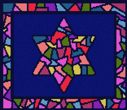 Glass Needlepoint Kit - pepita Tallit Stained Glass Needlepoint Kit