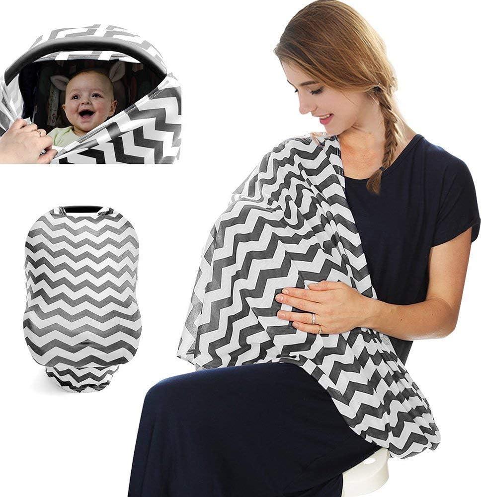 Black Grey Stripes MMBABY Nursing Breastfeeding Cover,Baby Car Seat Covers,Nursing top