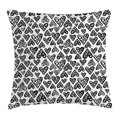 KK-Home Doodle Throw Pillow Cushion Cover, Romantic Funny Sketch Style Heart Figures Love Me Valentines Celebration Themes, Decorative Square Accent Pillow Case, 18 X 18 inches, Black White