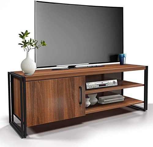 Amzdeal TV Stand Entertainment Center for Television up to 43 , TV Cabinet Media Console with Cabinet Door, Storage Shelves and Metal Frame for Living Room, Rustic Brown