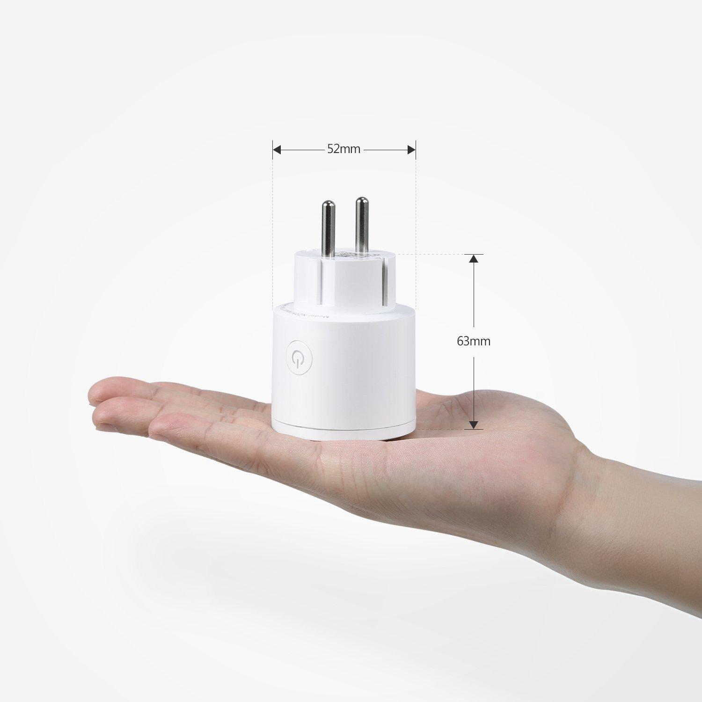 Presa Intelligente, Vodool Wi-Fi Smart Plug con monitoraggio dei consume, Compatibile con Amazon Alexa e Google Home, Accesso remote, Pianificazione e Controllo Vocale, 16A