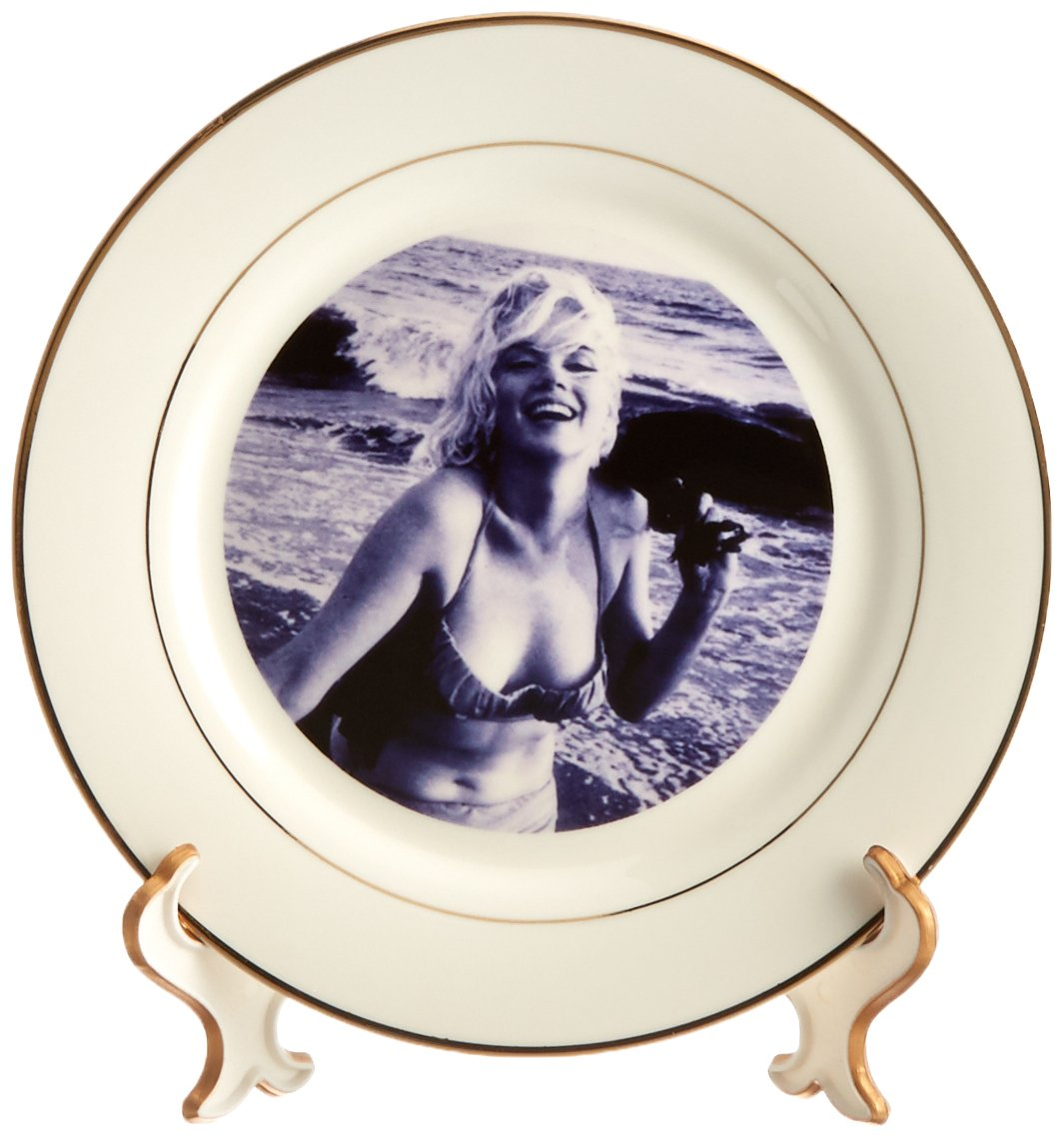 3dRose cp/_107190/_1 Marilyn Monroe at The Beach-Porcelain Plate 8-Inch