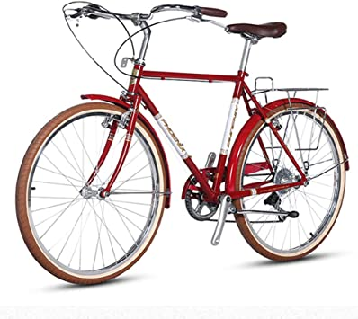 FANG Retro Bicicleta de Carretera, Mujer 7 Velocidades Marco De Acero De Alto Carbono Bicicleta Urbana, Biciclete con Freno Double V,Rojo: Amazon.es: Deportes y aire libre