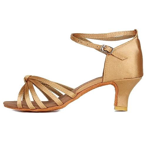 d6f3cb8bf985 YKXLM Women s Beige Satin Latin Dance Shoes Standard Salsa Performance Ballroom  Shoes