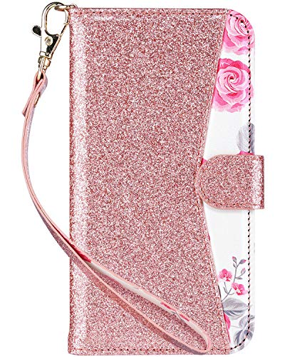 ULAK iPhone XR Case Wallet, Kickstand Bling Glitter Protective PU Leather Flip Cover with Credit Card Slots+Side Cash Pocket+Magnetic Clasp Closure,Rose Gold