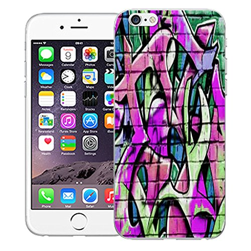 "Mobile Case Mate iPhone 6 4.7"" Silicone Coque couverture case cover Pare-chocs + STYLET - Wall Grafitti Purple pattern (SILICON)"