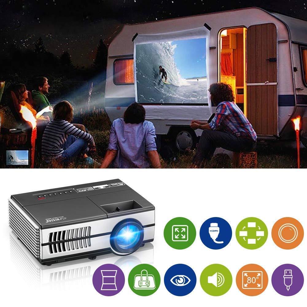 小型 プロジェクター LED 2800ルーメン 1080PフルHD対応ホームシアター プロジェクター 960*640解像度 台形補正 ズーム機能 スマホ/iPhone/PC/タブレット/ゲーム機など接続可 タイマー機能付き USB/HDMI/AV/VGAサポート リア/フロント/天吊り/標準的なカメラ三脚対応 B07MNDZLVC