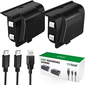 Paquete de batería recargable para Xbox One, 2 x 1200 mAh Xbox One con cable micro USB de 4 pies e indicador de carga LED para mando inalámbrico Xbox One/S/X/Elite: Amazon.es: Electrónica