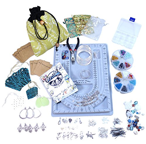 Creative Oasis Complete Jewelry Making Kits & Gifts Featuring Beautiful Glass Seed Beads, Quality Metal Components, Tools & Memory Wire. Excellent Value Beading kit for Teens and Adults! (Forest)