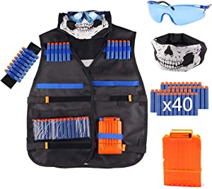 Kids Tactical Vest Kit for Nerf Guns N-Strike Elite Series with 40 Pcs Refill Darts,1 Reload Clips, 1 FaceTube Mask, 1 Hand Wrist Bands and 1 Protective Glasses for Boys and Girls