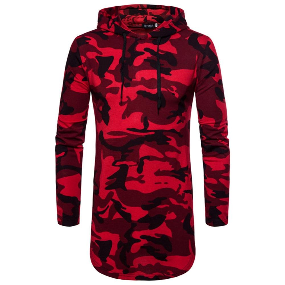 TIFENNY Men's Tops Long Sleeve Casual Ripped Top Solid Camo T-shirt With Hooded Blouse (XXL, Red)