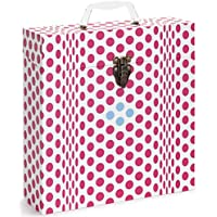 Tunes-Tote Folding Dots Pink Vinyl Record Storage & Vinyl Record Carrying Case. Vinyl Record Storage Box for LPs, Albums, 33-1/3 & 78 RPM (3305)