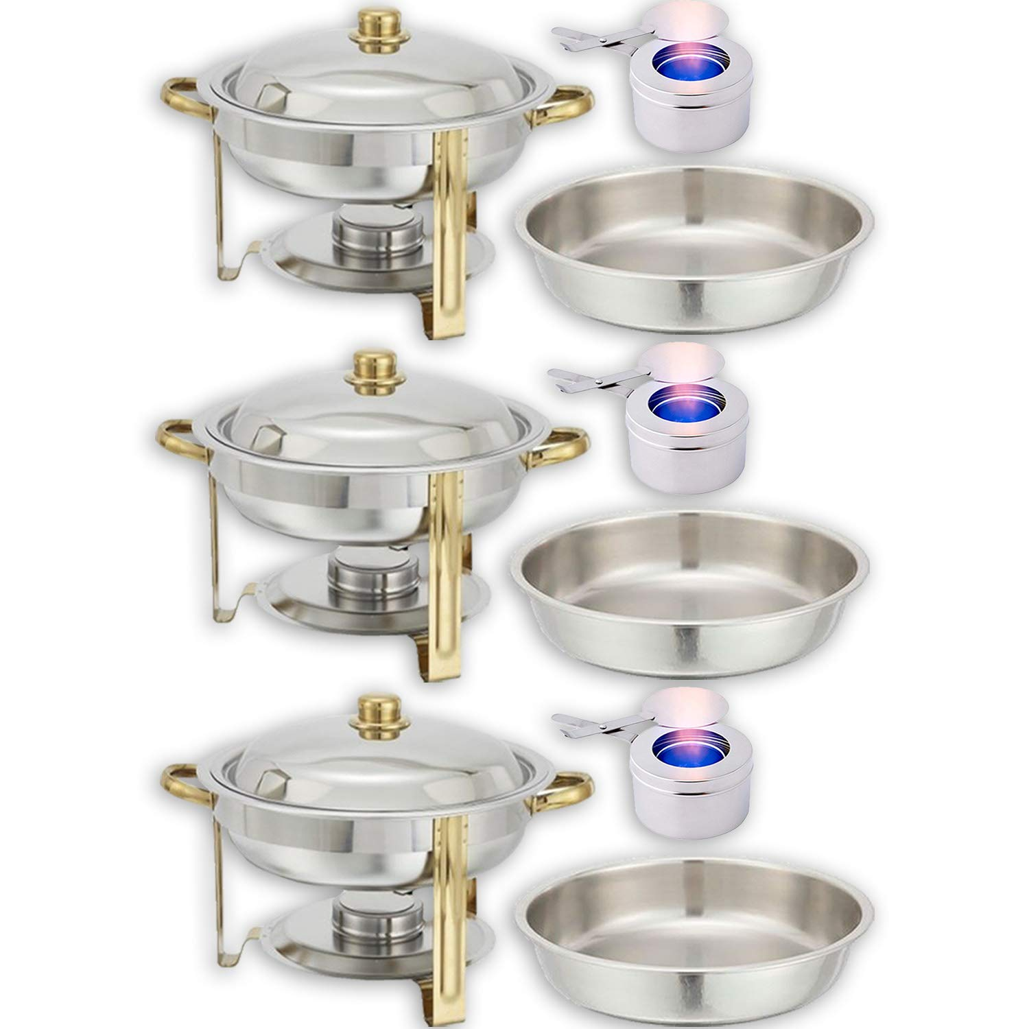 Chafing Dish Buffet Set - Water Pan + Food Pan (4 qt) + Frame + 3 Fuel Holders - Stainless-Steel Warmer Kit 3 Pack