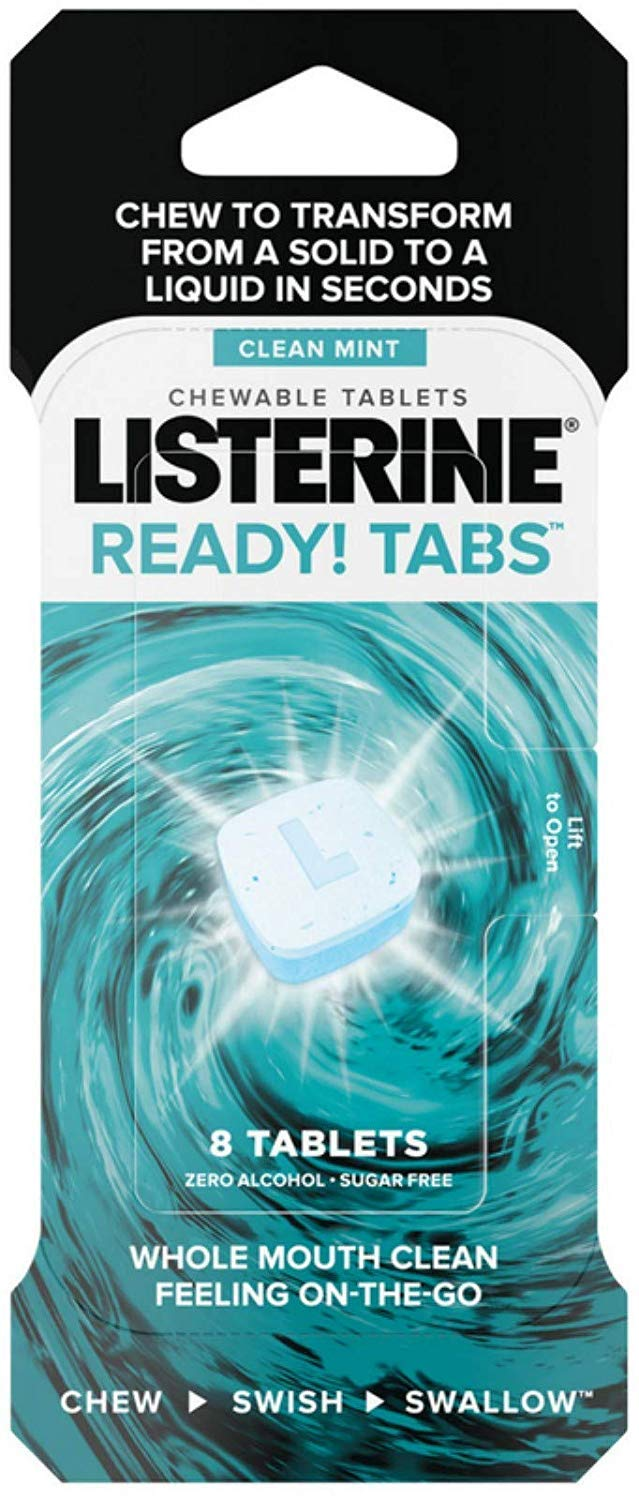 Listerine Ready! Tabs Chewable Tablets with Clean Mint Flavor, Revolutionary 4-Hour Fresh Breath Tablets to Help Fight Bad Breath On-the-Go Mouthwash 8 ea (Pack of 3)