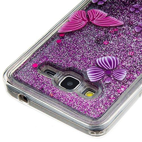 Trumpshop Smartphone Carcasa Funda Protección para Samsung Galaxy Grand Prime (G530) + A Pretty Dream + TPU 3D Liquido Dinámica Sparkle Estrellas Quicksand Caja Protectora Mariposa