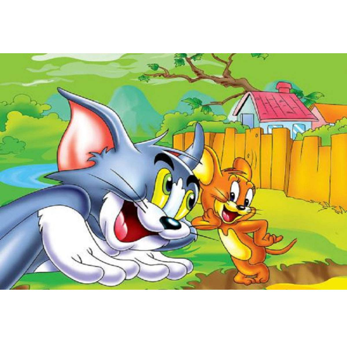 15.7x11.8inch//40x30cm Tom and Jerry Leezeshaw 5D DIY Diamond Painting By Number Kits Fameless Rhinestone Embroidery Paintings Pictures For Home Decor