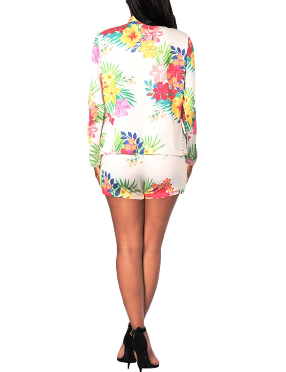 Women Floral Print Casual Two Pieces Suit Set Long Sleeve Blazer Shorts Outfit M by Angsuttc (Image #2)