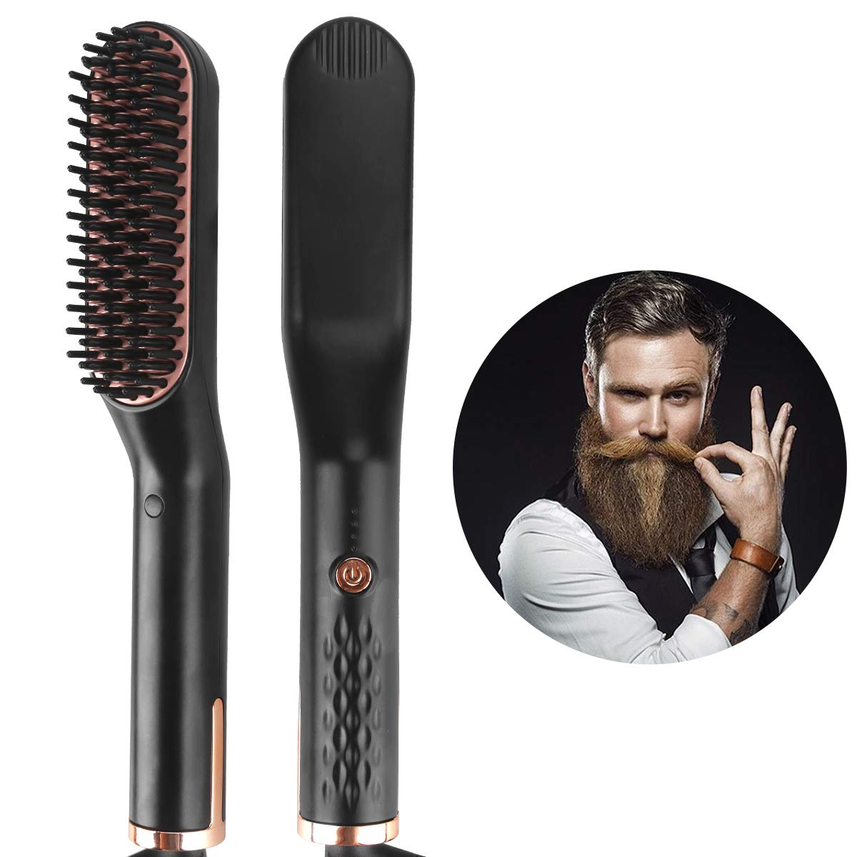 Beard Straightener Brush For Man, Ionic Enhanced Hair Straightening Brush For Women Faster Heating and for All Hair Types,Auto Temperature Lock,Hot Comb with Anti-Scald Feature