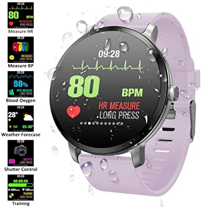 Padgene Pulsera Actividad Reloj Inteligente SmartWatch Deportivo IP67 Bluetooth con Pulsómetro Monitor de Sueño, Música, Cámara Remota, Notificación ...