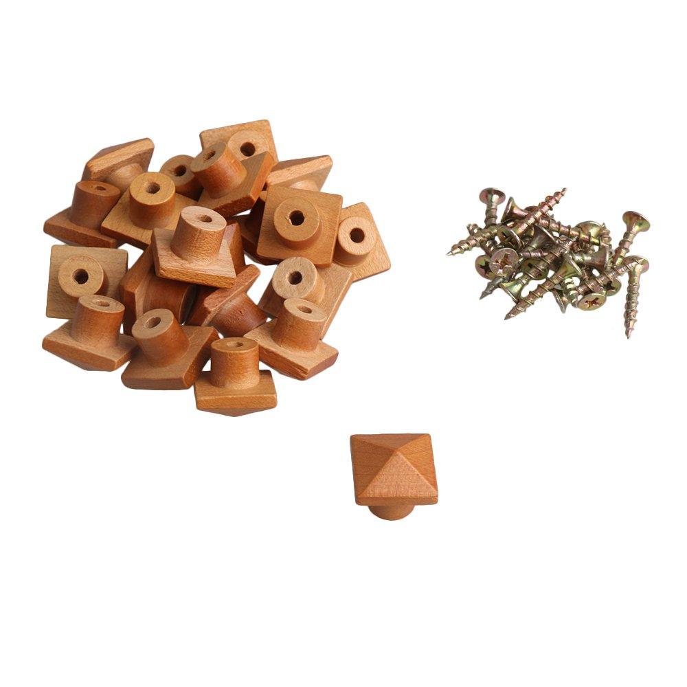 BQLZR Bois Couleur un seul trou conique en bois massif Bouton de poigné e pour meuble de cuisine tiroir Armoire Lot de 20