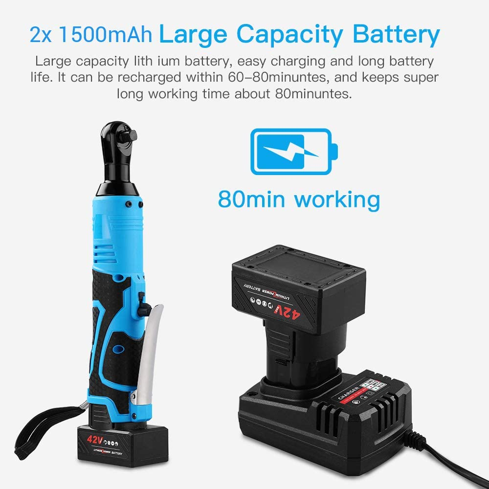 2 Batteries Support 80Mins Working Time Elikliv 3//8 42V 100Nm Electric Cordless Ratchet Right Angle Wrench Tool Set LED Working Light Design 2x40mins