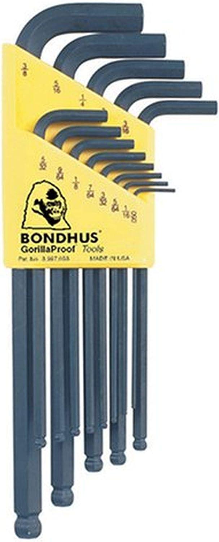 """FREE TORX Set Bondhus BSX13 Jeu de Tournevis Hex à bille pouces 13pc 0.050-3//8/"""""""