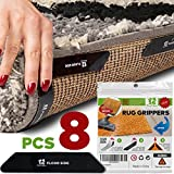 #2: Rug Gripper Holders – Non-Slip Anti-Curling Sticky Rug Stoppers for Carpet Corners – Two-sided Reusable Carpet Anchors (Set of 8) for Both Indoor & Outdoor Flooring