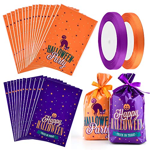 Coopay 100 Pieces Halloween Treat Bags Plastic Candy Bags Trick or Treat Bags with 2 Rolls Satin Ribbon for Halloween Party Gift Favor, 2 Designs