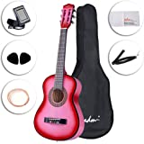 ADM Beginner Classical Guitar 30 Inch Bundle with Carrying Bag & Accessories, Pink