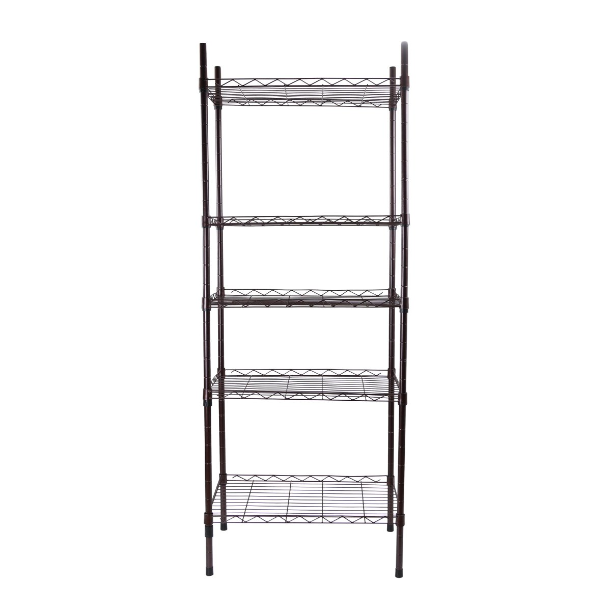 Yontree 5-Tier Wire Shelving Shelves Unit Steel Storage Rack Baker Rack Kitchen Laundry Organization in Brown on Wheels 15.7x11.8x47.2 Inches