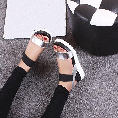 SKY Comfortable to wear it !!! Moda Sandalias Mujeres Envejecido De Cuero Sandalias Planas Zapatos De Damas 5cm Platform Height Plata