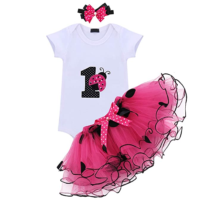 40e5d2031cd Baby Girls 3PCS Ladybug One Polka Dots 1st Birthday Outfit Romper with Tutu  Skirt and Headband
