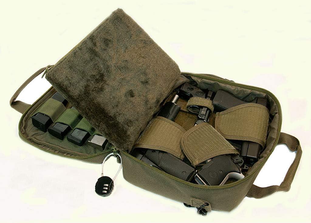 Pistol Case Range Bag for Handguns by FirstChoice - 2 to 4 Gun Padded Tactical Handgun Shooting Soft Case, Lockable Zippers w/Padlock, 3 Mini-Holsters, 8 Mag Slots, 4 Pockets, w/Range Mat
