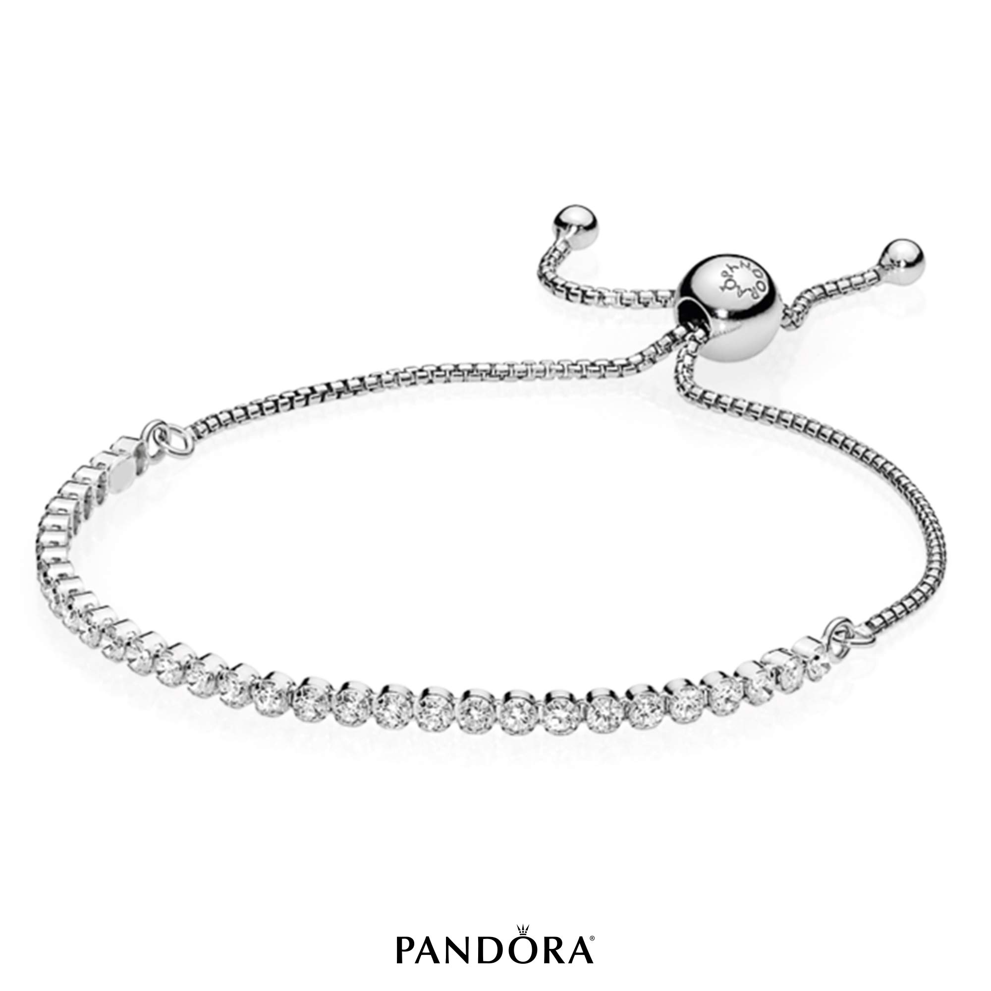 PANDORA Sparkling Strand Bracelet, Sterling Silver, Clear Cubic Zirconia, 9.1 in by PANDORA