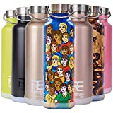 Rehydrate Pro (Smiles 25 oz Double-Insulated Stainless Steel Water Vacuum Bottle Flask -Compatible to Swell Yeti Hydro and Klean Kanteen for Hot or Cold Drinks + Bonus 'Flip N Sip' Sports Cap